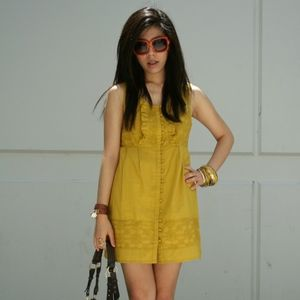 Dresses & Skirts - Mustard Ruffle Sleeveless Dress with Front Buttons